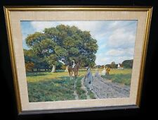 """1920s German Oil Painting """"Villagers meet on Country Rd"""" by Wilhelm Fritzel (Ma"""