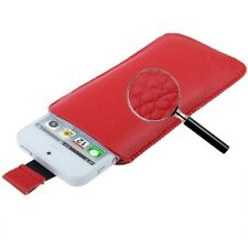 Funda iPHONE 5 4S 4 3GS 3G cuero ROJO PT5 ROJA PULL-UP pouch leather case