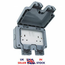 13A 2 Gang 2 Way Double Socket Switch Outdoor Plug Socket IP66 Waterproof Box