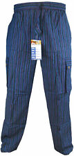 Plain Striped Cotton Light Loose Straight Elastic Waist Nepalese Trousers Pant