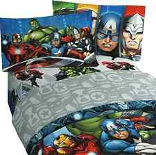 New 3pc Marvel Avengers Twin Bed Sheet Set Superhero Halo Bedding Accessories .