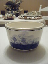 BLUE WHITE WINDMILL BOWL WITH SHIP ON ONE SIDE AND WINDMILL ON OTHER 5.25 WIDE