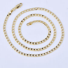 Mens 18K Yellow Gold Filled Stainless Steel  Cuban Link Chain Necklace Long 24""