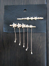 FREE PEOPLE New Set of 2 STAR Chain Detail Gold Bobby Pins Clips Anthropologie