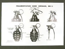 Fragmentation Hand Grenade MkII Training Chart Poster frag pineapple WWII bomb