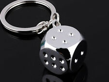 HJ056 Dice Keyring Lucky Creative Alloy Keychain Polished Chrome Classic 3D Gift