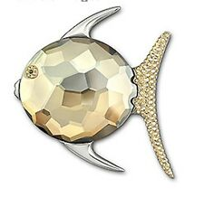 signed Swarovski~ Lydia~ Golden Crystal FISH~ Pin Brooch ~NIB~ $150~ stunning