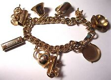 Lovely VINTAGE Jewellery Gold Tone Metal Movable Charms CURB CHAIN BRACELET