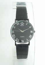 MENS AWESOME SLIM WRIST WATCH DESIGNER BLACK STRAP & CASE PERFECT GIFT SALE ...