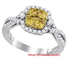 14K WHITE GOLD GORGEOUS CANARY YELLOW DIAMOND  BRIDAL ENGAGEMENT RING 1CT