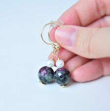 Grade A Ruby Zoisite Pearl Earrings 14K Gold Filled