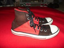 Unisex Converse High Top Black & Red Canvas Tennis Shoes Size M8/W10