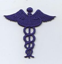 Iron On Embroidered Applique Patch Medical Caduceus Symbol Blue Doctor Nurse