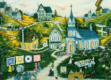 """Ann Stookey """"THE PICNIC"""" Americana Town Quilts Church BOXLESS Jigsaw Puzzle *NEW"""