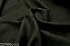 B156 SUPER FINE PLAIN BLACK WAFFLE WEAVE WOOL-COTTON-VISCOSE BLEND MADE IN ITALY