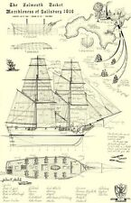 "Falmouth Packet, Technical Plans, Print Size 24"" x 16"" - Planaship Print."