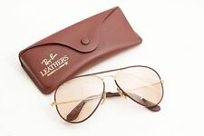 EXC Rayban Aviator Leathers Brown/Black Stripes,with Case,58mm,Light Brown Lense
