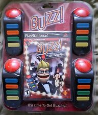 Buzz The Hollywood Quiz Bundle (Sony PlayStation 2,PS2)w/4 Buzzers SEALED NEW