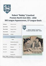 BOBBY CRAWFORD PNE 1921-1932 EXTREMELY RARE ORIGINAL HAND SIGNED CUTTING & PIC