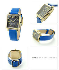 New Women's Vic Gold Tone Blue Leather Strap Marc Jacobs  Watch MJ1438