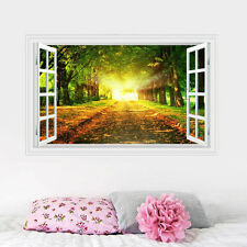 Removable Vinyl 3D Window View Forest Tree Decal Wall Sticker Home Decor Mural
