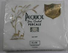 "NIP VINTAGE PEQUOT FIN COMBED PERCALE DOUBLE FLAT SHEET WHITE 81"" X 108"" 180TC"