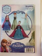 SIMPLICITY SEWING PATTERN 1234 Disney Frozen Dolls Costume, FastPost Free P&P