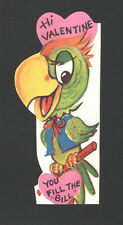 """Vintage Valentine Card Parrot on Perch    """"Hi Valentine,  You fill the """"BILL"""""""