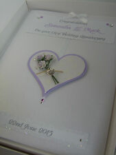Personalised 1st Wedding Anniversary Card, Swarovski crystals, boxed
