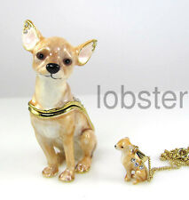 FINE ENAMEL CHIHUAHUA TRINKET BOX w CRYSTALS includes gold pendant necklace