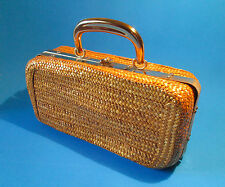 Vintage Italian SUMMER Woven Straw BOX  PURSE  Gold Tone Metal Handle ITALY