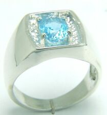 SWISS BLUE NATURAL BRAZILIAN TOPAZ 1.88 CARATS VVS GRADE IN SIZE S/9 SILVER RING