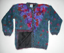 ICELANDIC DESIGN Cardigan LEAF Sweater Jacket WOOL & MOHAIR Fuzzy Lined NEW S/M