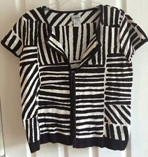 Chico's Brown White Stripe Short Sleeve Open Front Top Silk Blend Cardigan Sz 1