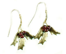 Holly Wire Earrings with Garnets by Michael Michaud