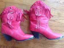 Women red cowboy cowgirl boots with fringes size 6.5 M