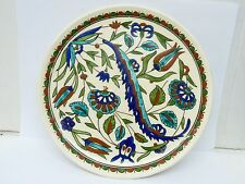 Vintage Turkish Kütahya Studio Pottery Hand-Painted Plate, Marked, D 21.3 cm