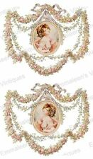 Vintage Image Shabby Framed Victorian Pink Roses Woman Waterslide Decals WOM988
