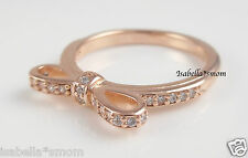 SPARKLING BOW 100% Genuine PANDORA Clear CZ Stones/ROSE GOLD Plated RING Sz 6~52