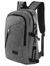 Business Laptop Backpack Mens Women Travel Gear Bag Waterproof 17 Inch Grey