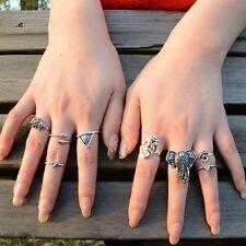 8PCS/Set Vintage Boho Tribal Ethnic Turquoise Hippie Gothic Elephant Snake Ring