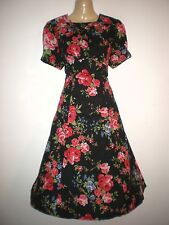 NEW VINTAGE 50'S STYLE BLACK FLORAL PARTY TEA DRESS SIZE 10