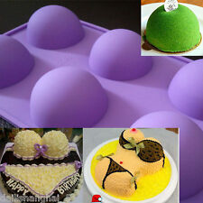 New 3D Cake Soap Mold 6-Big Half Ball Round Flexible Silicone Mould For Candy
