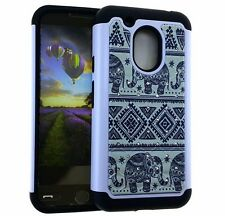 For Motorola Moto G4 Play - HYBRID DIAMOND BLING CASE BLACK WHITE AZTEC ELEPHANT