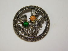 Vtg Holllywood Celtic Scottish Thistle Glass Agate Silver tone Brooch Pin 2b 87