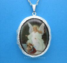 Christian Porcelain GUARDIAN ANGEL CAMEO ST Locket Necklace Mom Mothers Day Gift