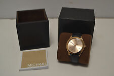 Michael Kors Women's MK2466 Runway Rose Gold Tone NAVY BLUE Leather Band Watch