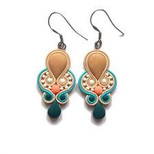 Teal Turquoise Blue Peach Salmon Beige Handmade Spring Easter Earrings Jewelry