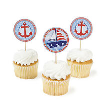 25 Ahoy Matey ANCHOR Cupcake Food PICKS 1st Sailor Birthday Party Favor Nautical