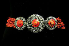 AZTEC TRIBAL RED BEADED BELT SILVER METAL LAVA-COLOURED STONE DETAILING (UW4)